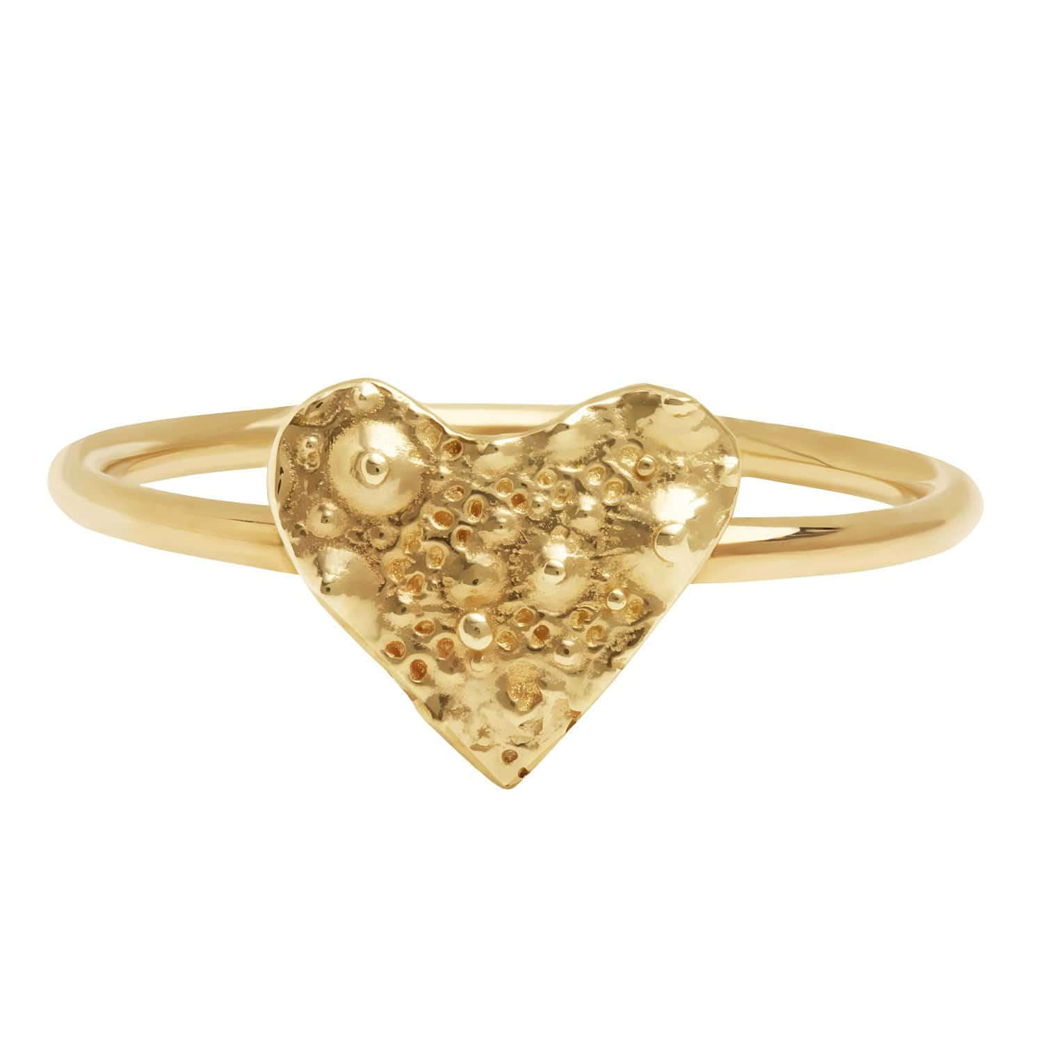 Caitlin Nicole sea urchin gold heart textured ring