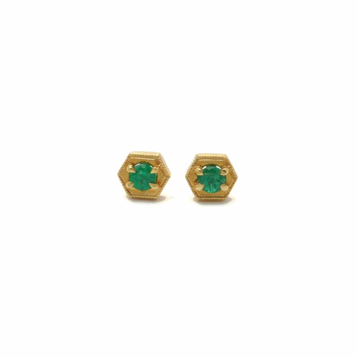 Emerald Gold Hexagon Stud Earrings