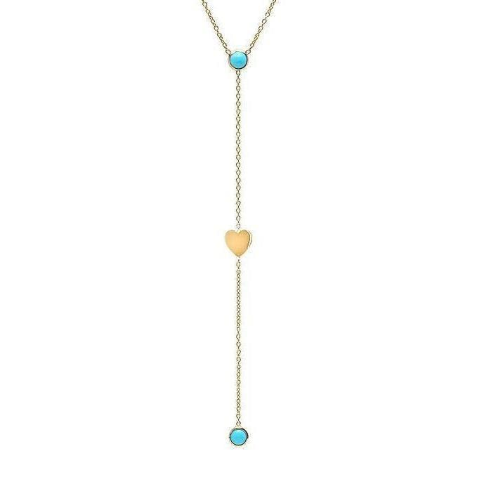 Turquoise Mini Heart Lariat Style 14k Necklace - Curated Los Angeles