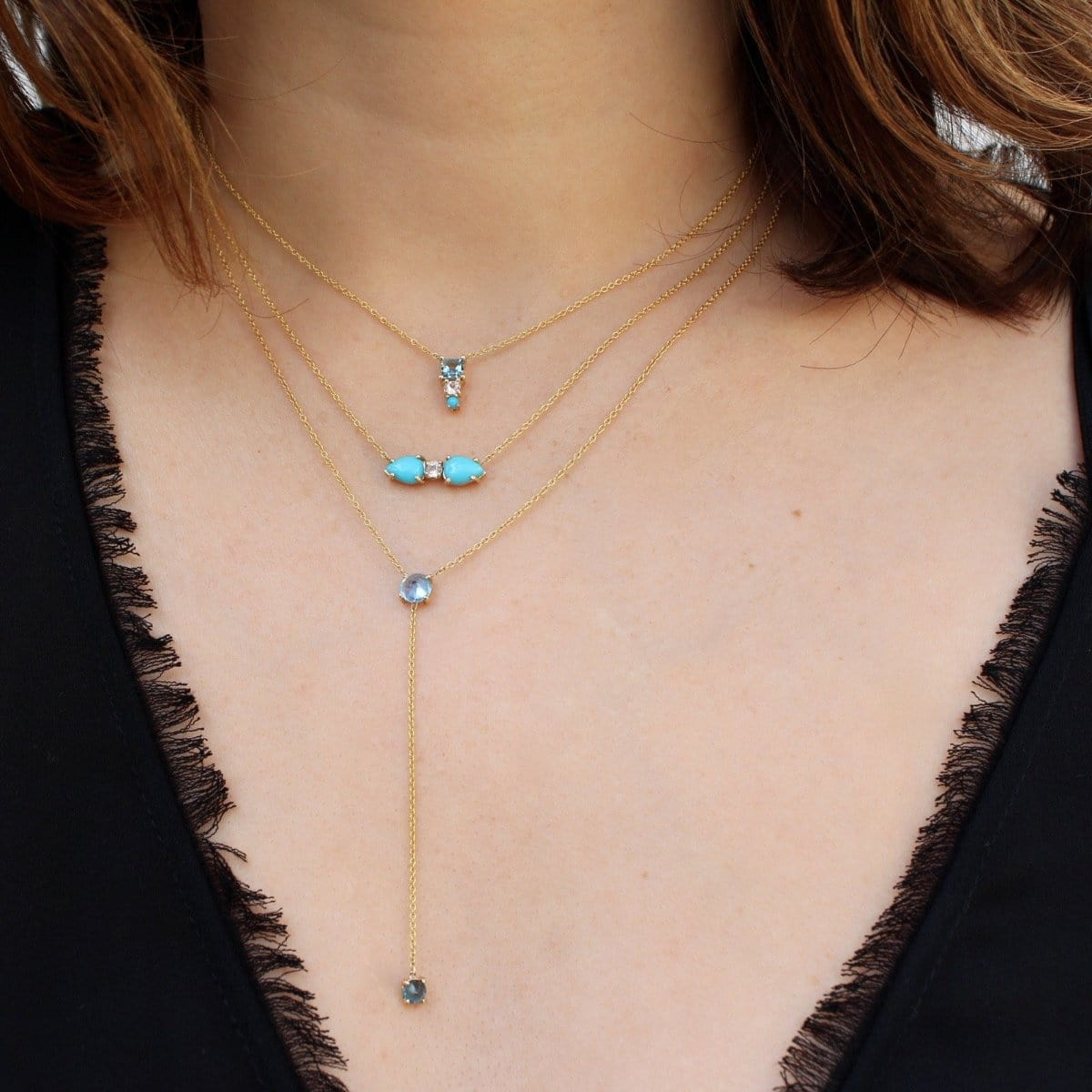Double Turquoise White Topaz Gold Necklace Curated Los Angeles