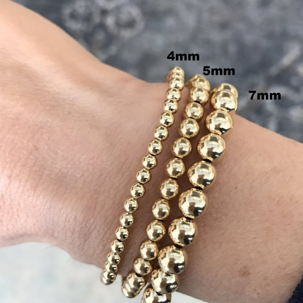 Karen Lazar 5mm Yellow Gold Bead Layering Bracelet - Curated Los Angeles