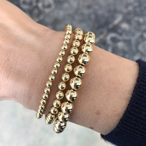 Karen Lazar  4mm Yellow Gold Bead Layering Bracelet - Curated Los Angeles