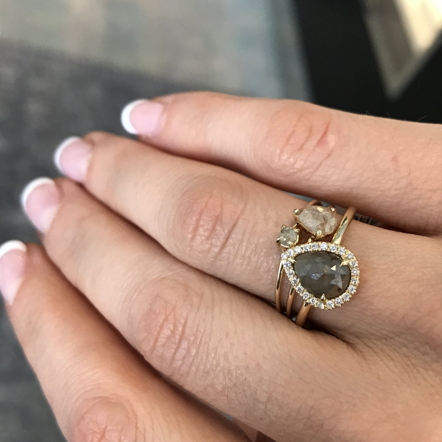 Pear Shape Rosecut Grey Diamond Ring