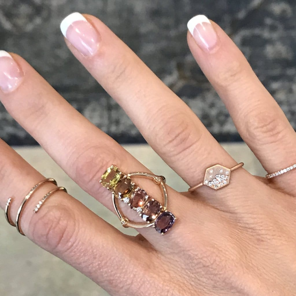 Diamond Sprinkle Rose Gold Hexagon Ring - Curated Los Angeles