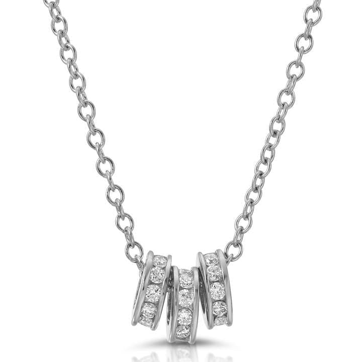 Three Diamond Rondelle White Gold Necklace