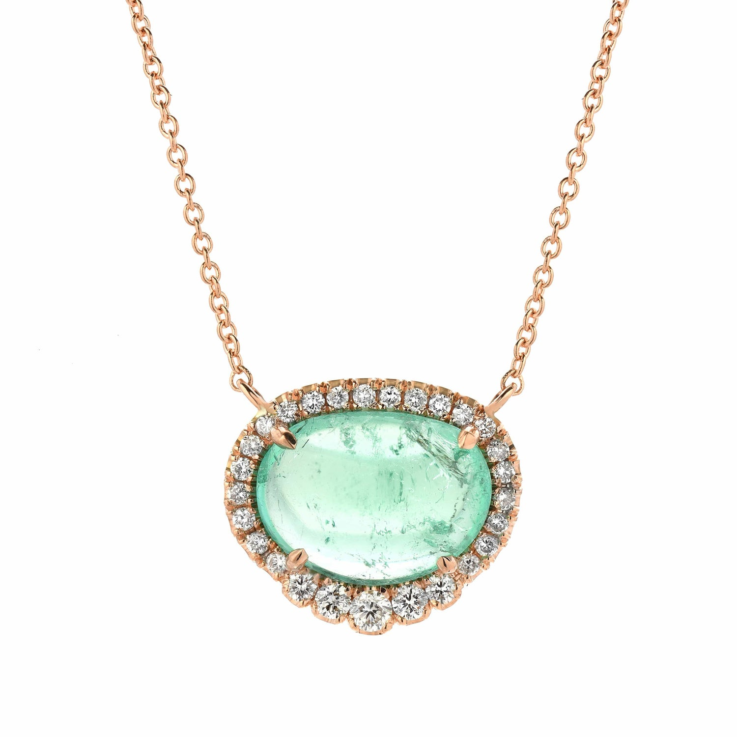 Diamond Muzo Emerald Rose Gold Necklace - Curated Los Angeles