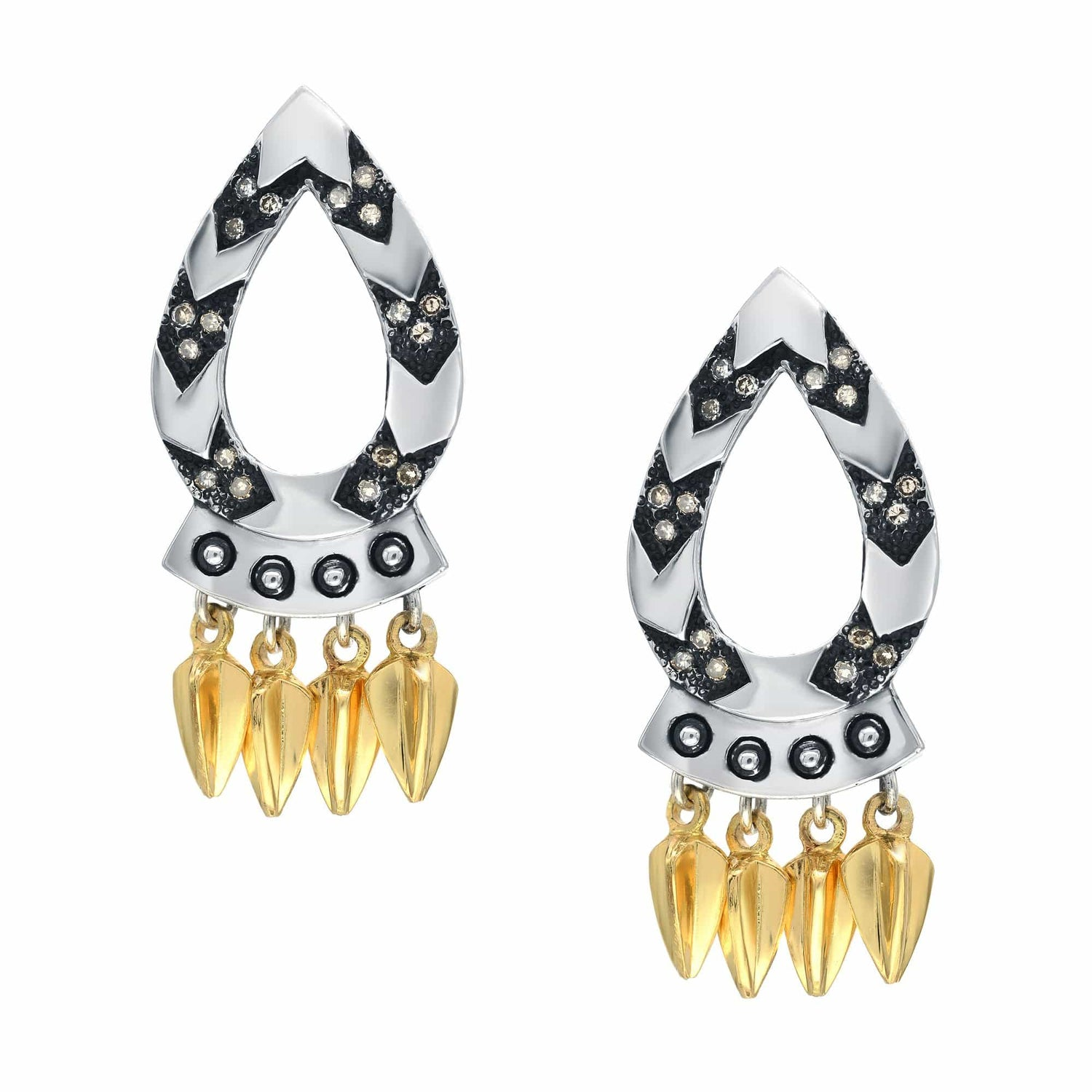 Diamond Chevron Gold and Silver Spear Earrings - Curated Los Angeles