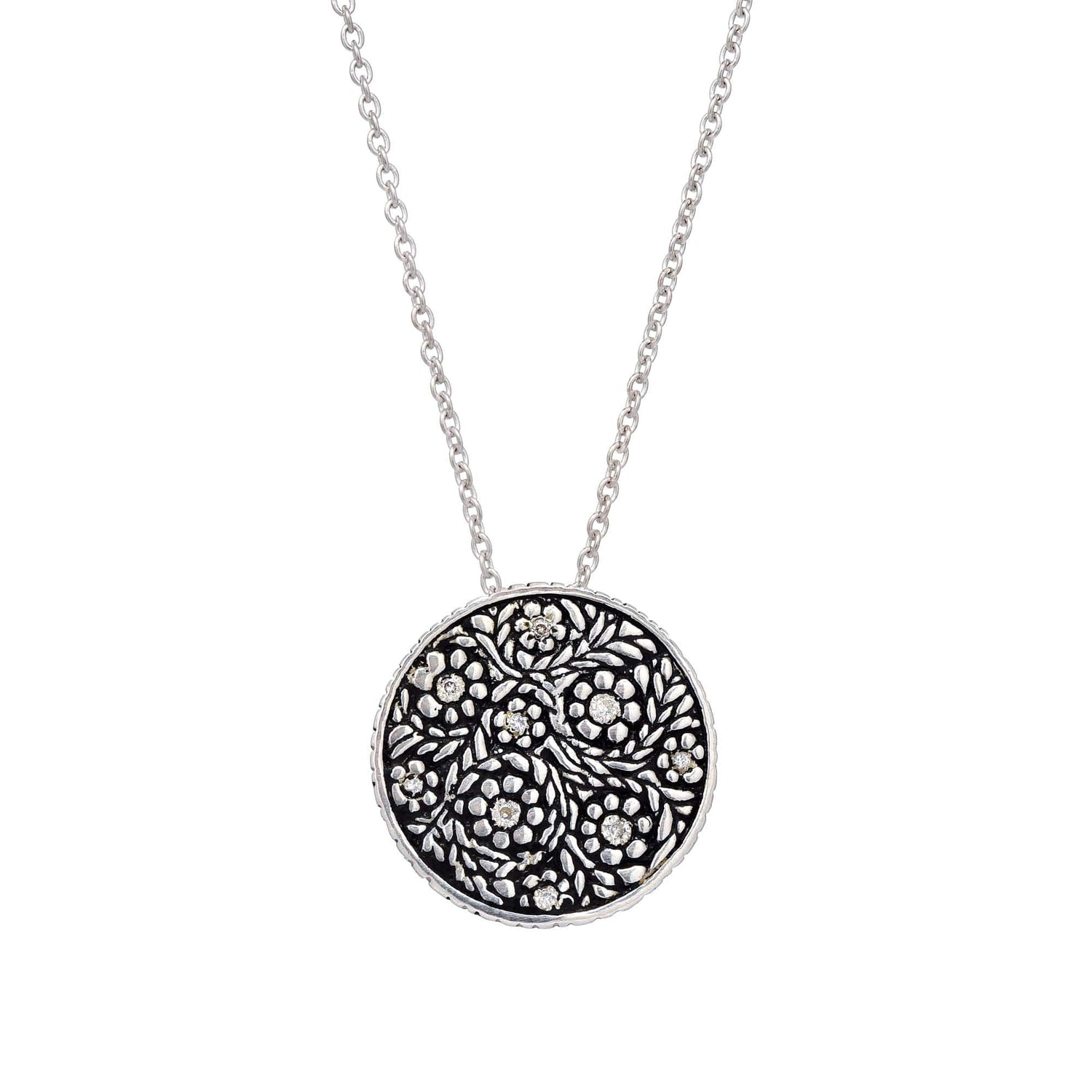 Diamond Floral Oxidized Silver Disc Pendant - Curated Los Angeles