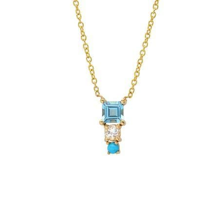 Turquoise Bead Diamond Seed Pendant Necklace