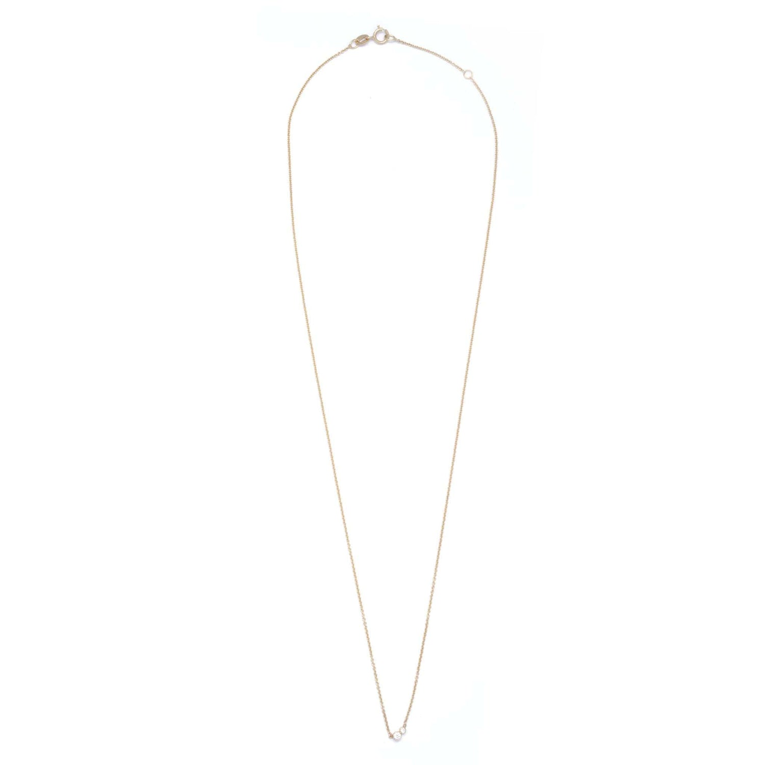 Double Diamond Yellow Gold Station Necklace - Curated Los Angeles