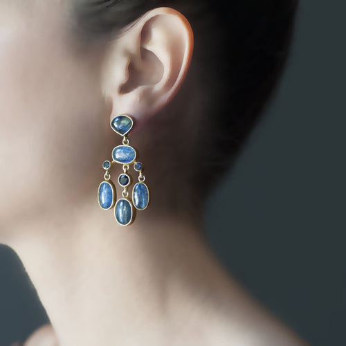 Kyanite and Iolite Chandelier Earrings - Curated Los Angeles
