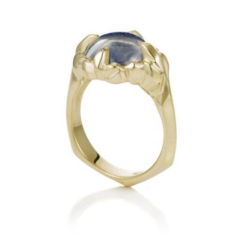 Moonstone Claw Yellow Gold Ring - Curated Los Angeles
