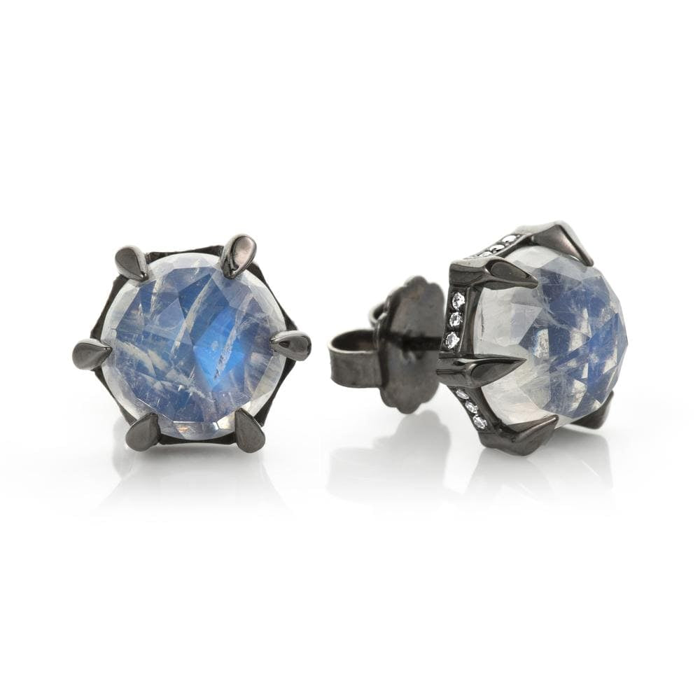Faceted Moonstone 6 Prong Diamond Border Rhodium Studs