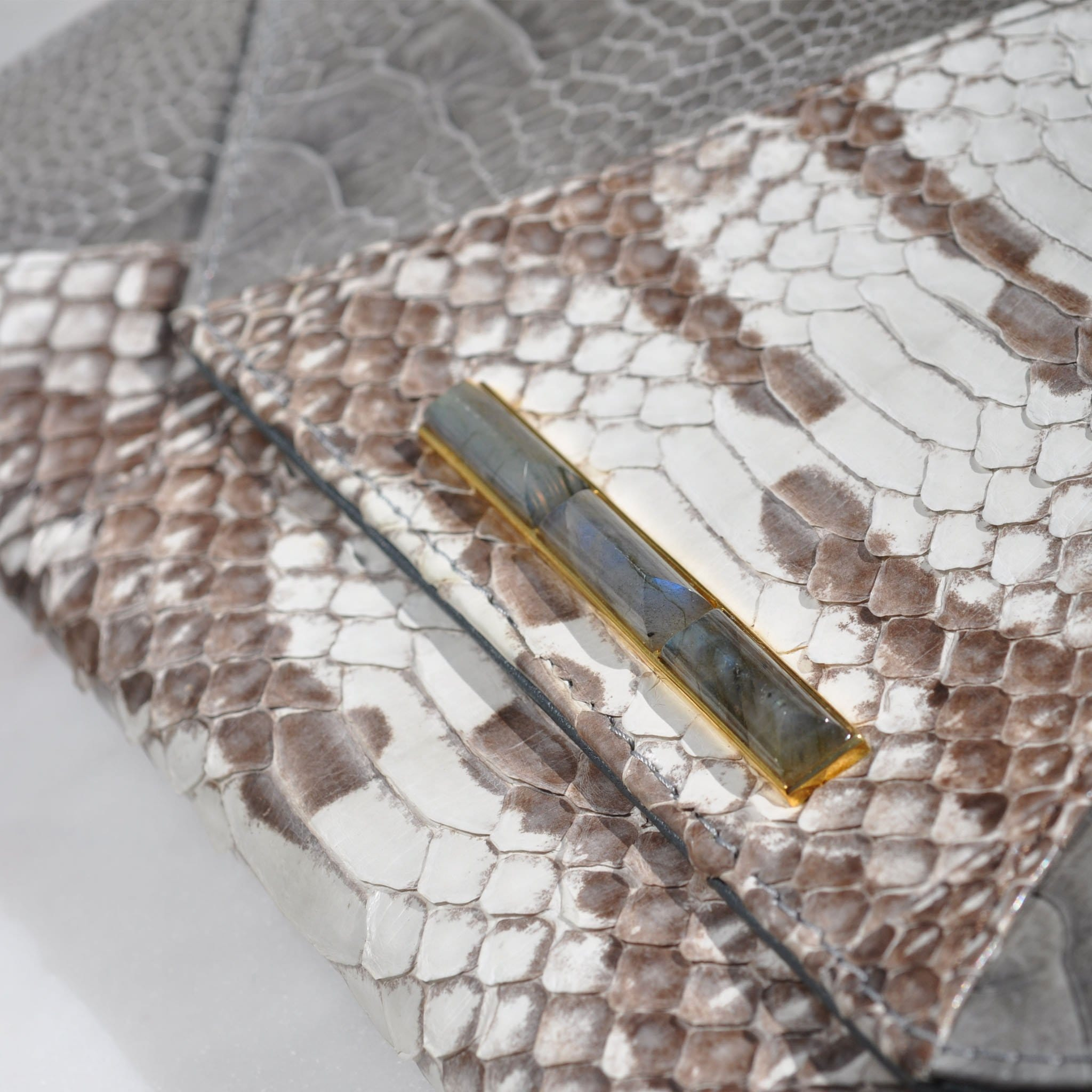 Grey Ostrich and Snake Clutch with Labradorite - Curated Los Angeles