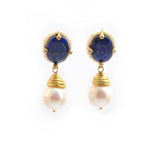 Lapis Lazuli Pearl Drop Earrings - Curated Los Angeles