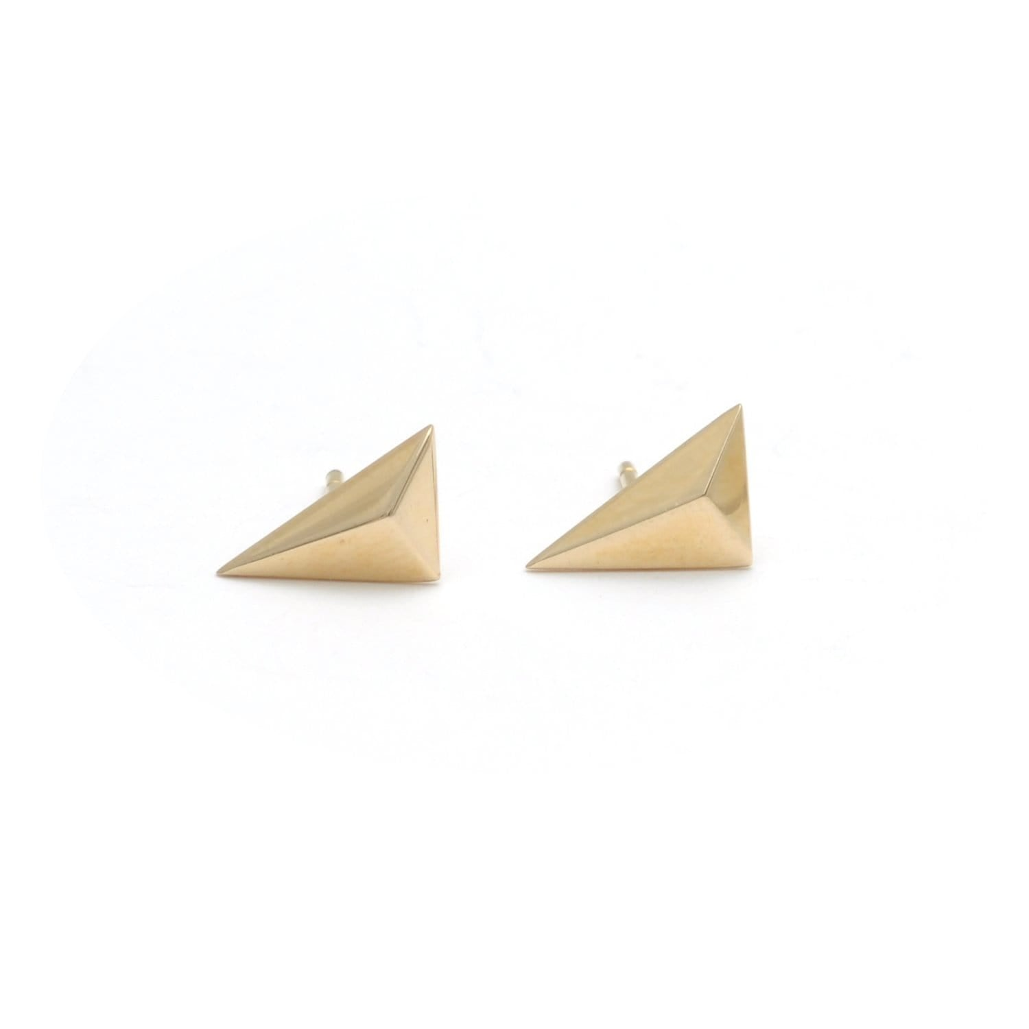 Yellow Gold Right Angle Triangle Studs