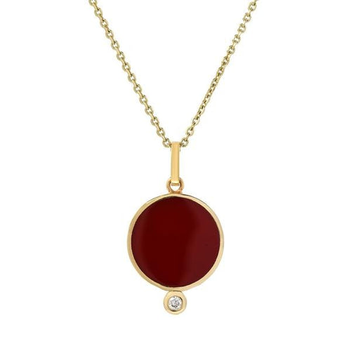 Bindi Red Enamel Diamond Yellow Gold Pendant - Curated Los Angeles