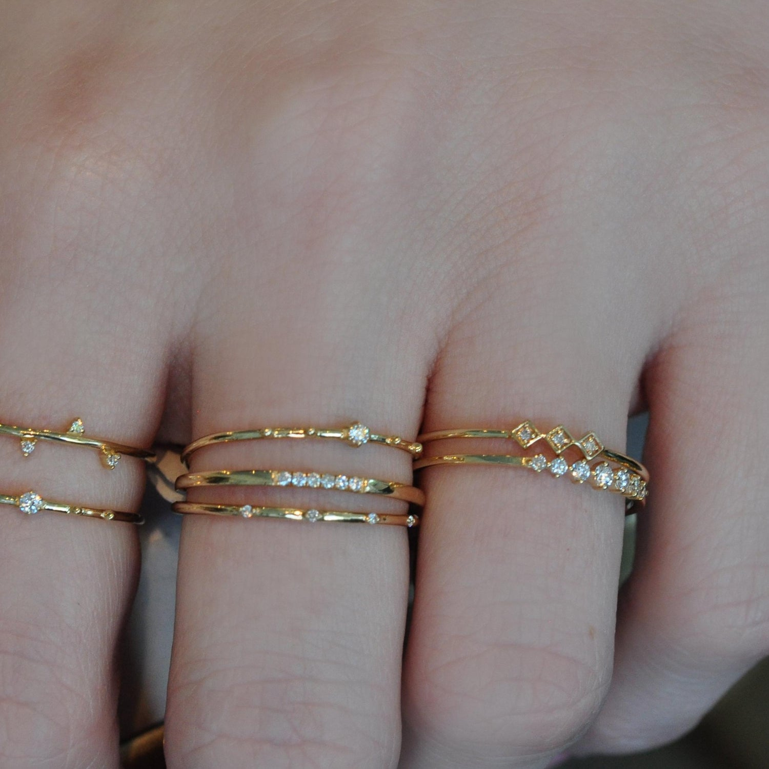 Three Diamond Delicate Gold Stacking Ring