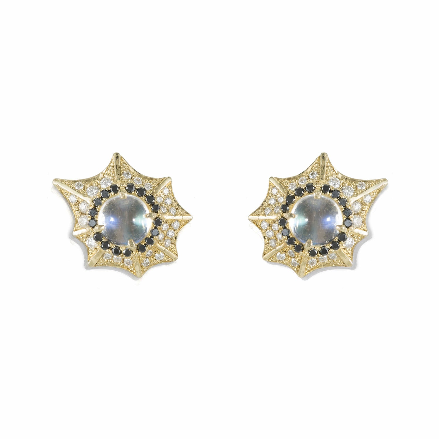 Diamond Moonstone Black Diamond Studs