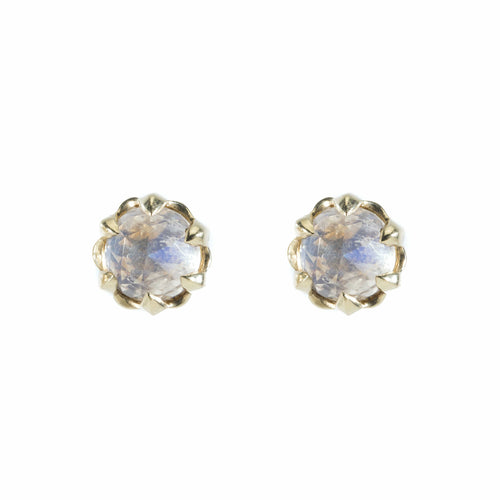 Faceted Moonstone Yellow Gold Stud Earrings - Curated Los Angeles