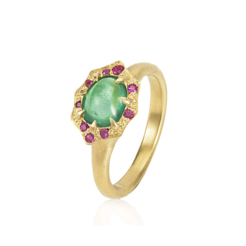 Emerald Cabochon Pink Sapphire Ring
