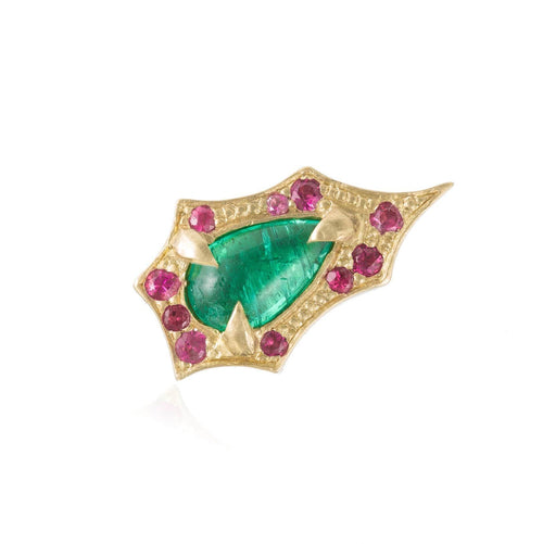 Emerald Pink Sapphire Gold Single Stud - Curated Los Angeles