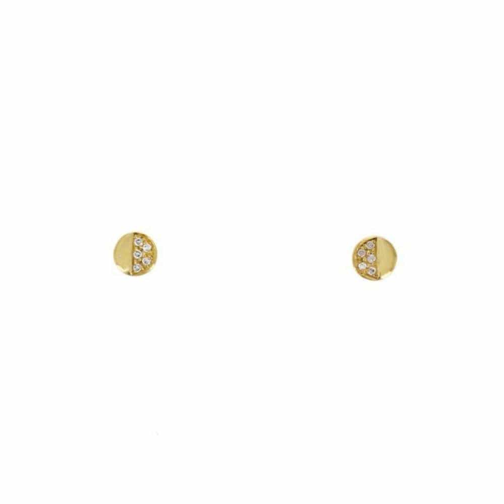 Half Diamond Round Gold Stud Earrings - Curated Los Angeles