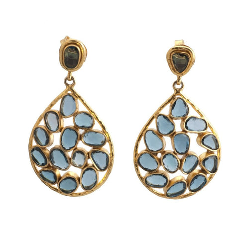 London Blue Topaz Mosaic Earrings - Curated Los Angeles