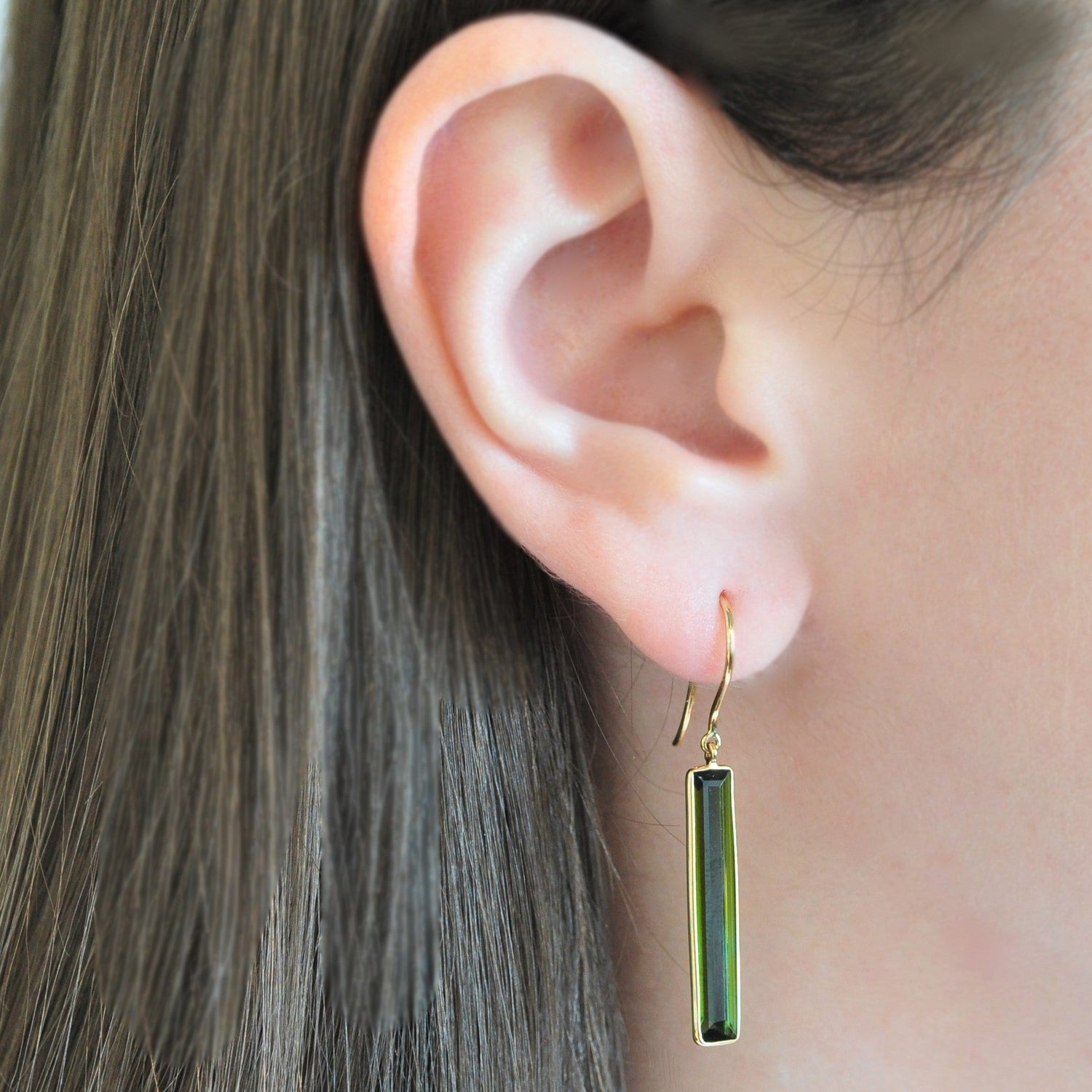 Long Green Tourmaline Dangle Earrings