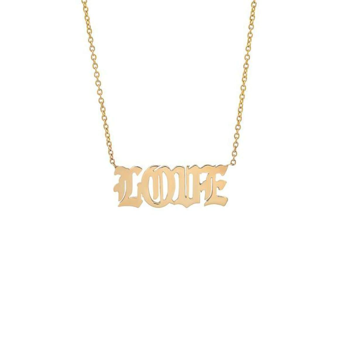 Old English 14k Gold Love Necklace