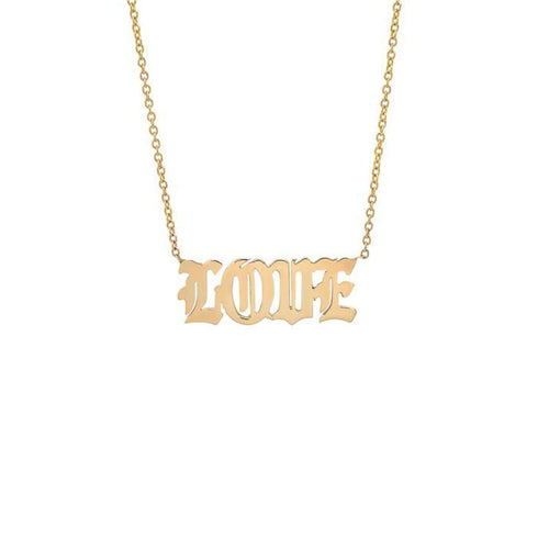 Love Old English Font Yellow Gold Necklace