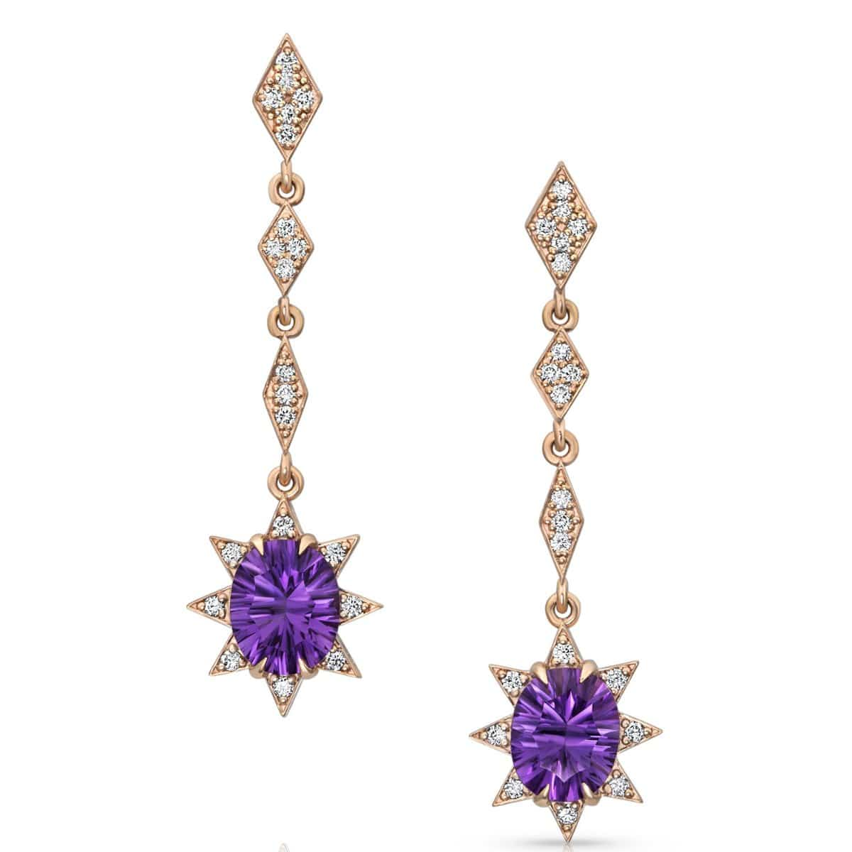 long amethyst diamond rose gold earrings