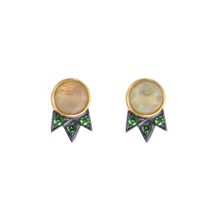 Opal Tsavorite Garnet Small Shooting Star Stud Earrings - Curated Los Angeles