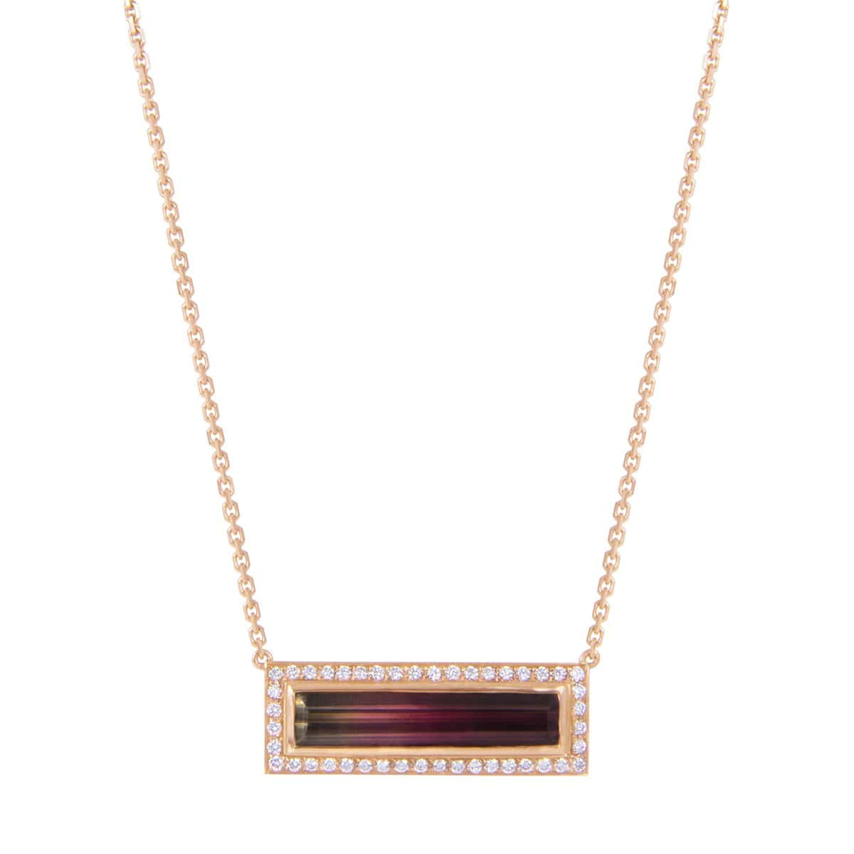 Watermelon Tourmaline and Diamond Horizontal Bar Necklace - Curated Los Angeles