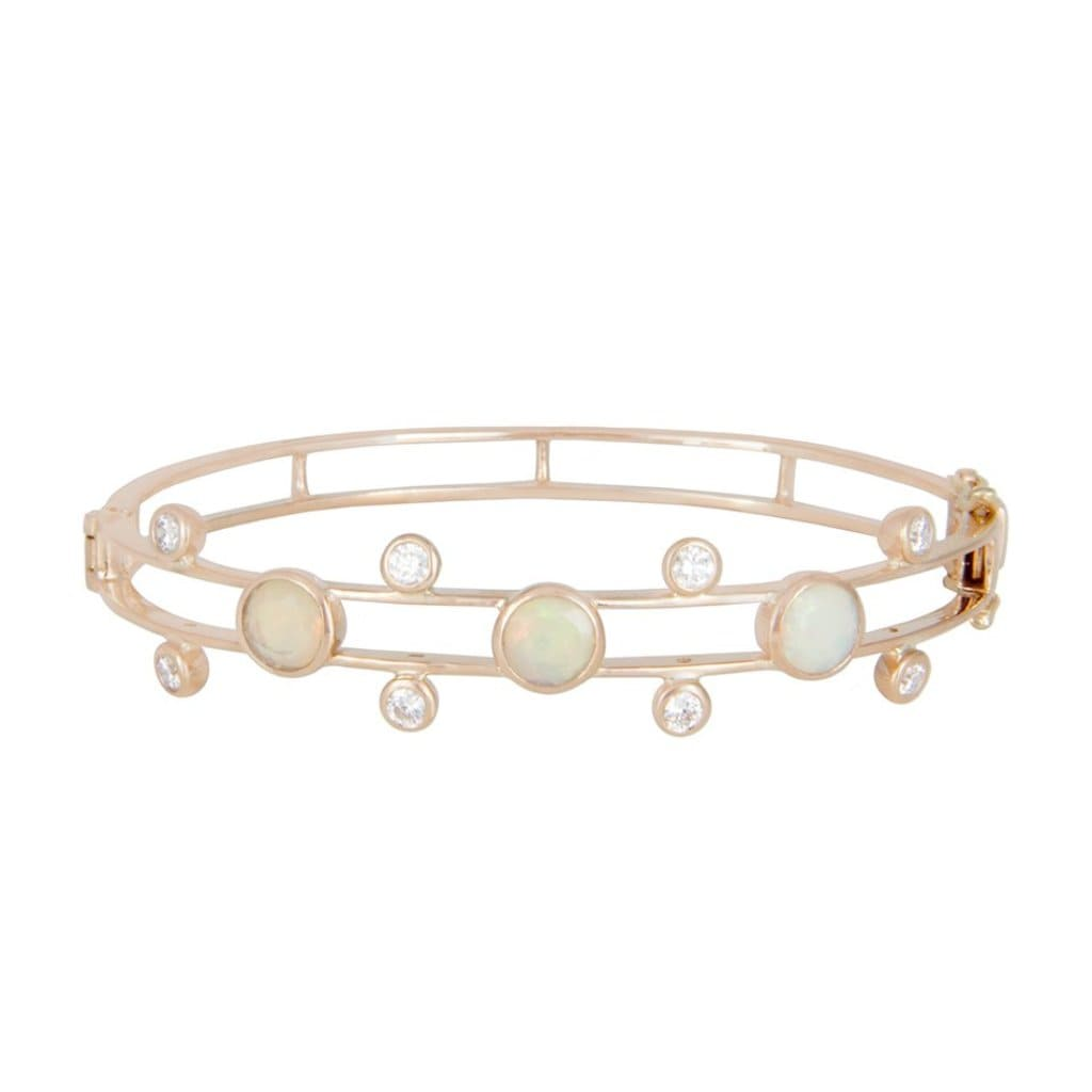 Opal and Diamond Rose Gold Bangle