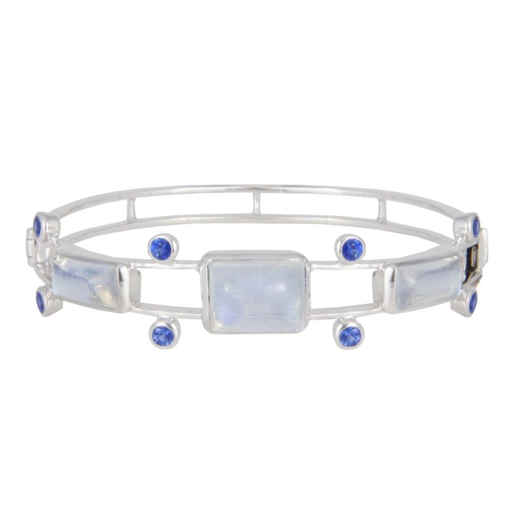 Moonstone Sapphire White Gold Bangle Bracelet