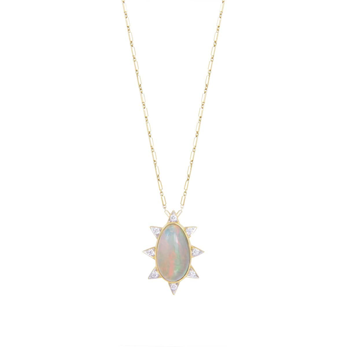 Oval Opal Diamond Starburst Pendant Necklace - Curated Los Angeles