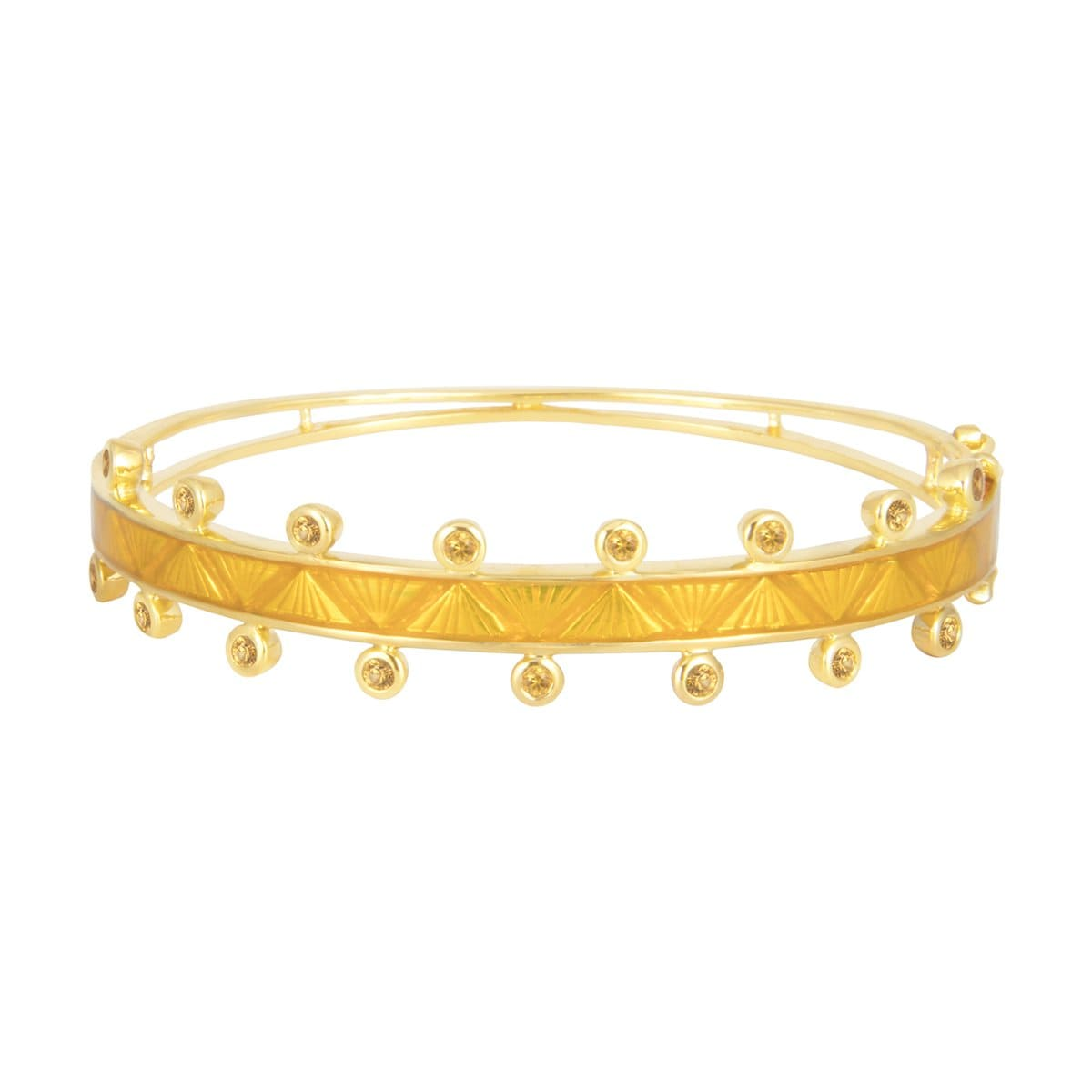 yellow sapphire enamel gold bangle