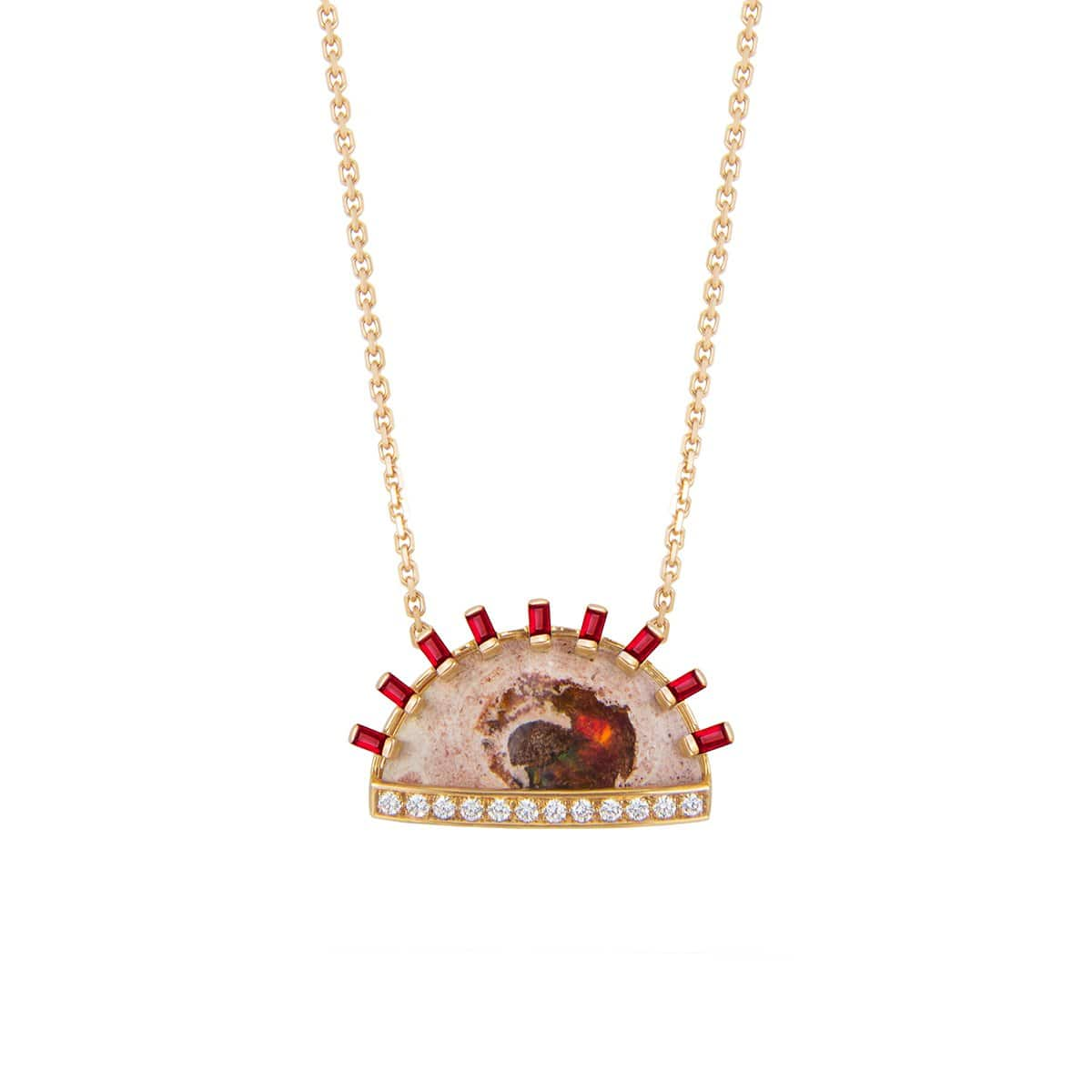 Opal in Matrix and Ruby Sunset Necklace - Curated Los Angeles