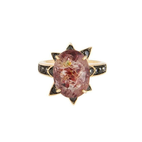 Red Included Quartz Black Diamond Starburst Cocktail Ring - Curated Los Angeles