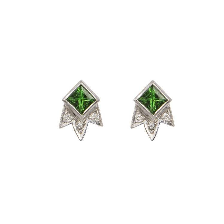 Tsavorite Garnet and Diamond Shooting Star Stud Earrings - Curated Los Angeles
