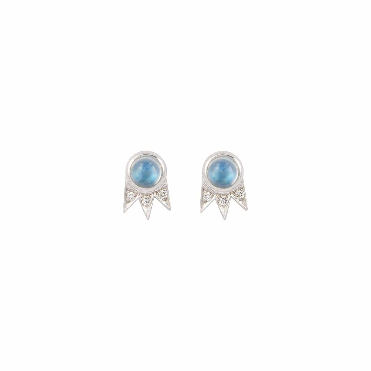 Moonstone Diamond Shooting Star Stud Earrings - Curated Los Angeles