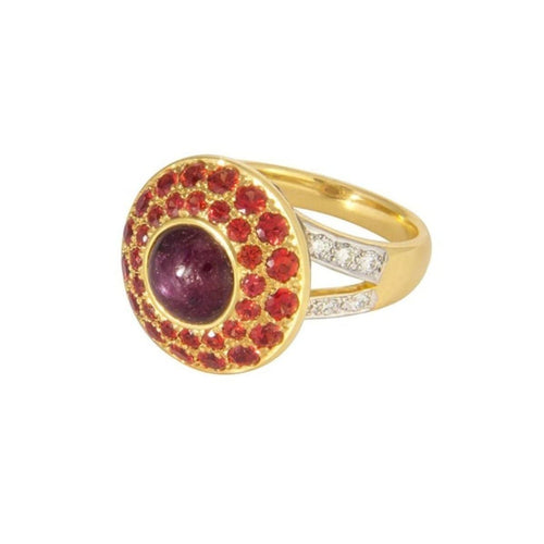 star ruby yellow gold cocktail ring