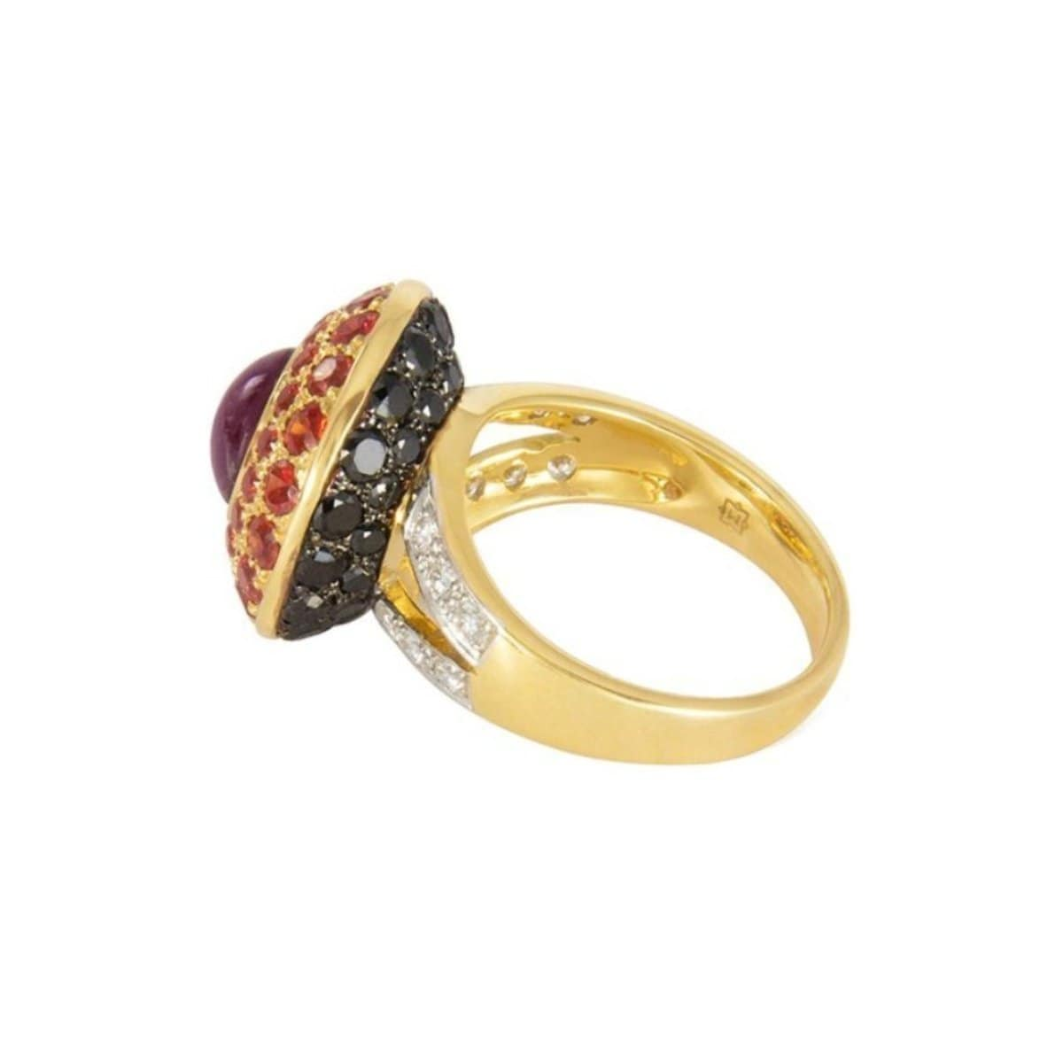 ruby black diamond cocktail ring