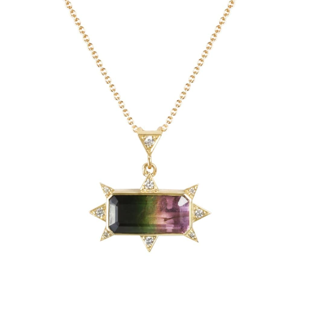 Watermelon Tourmaline Diamond Sunburst Pendant Necklace - Curated Los Angeles