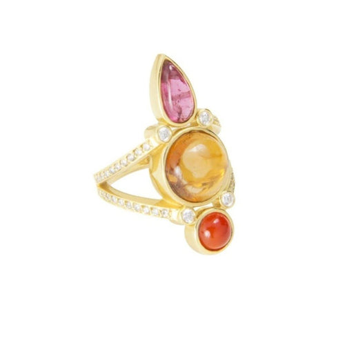 Pink and Yellow Tourmaline with Carnelian Ring