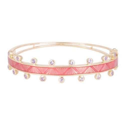 Pink Sapphire and Enamel Rose Gold Bangle - Curated Los Angeles