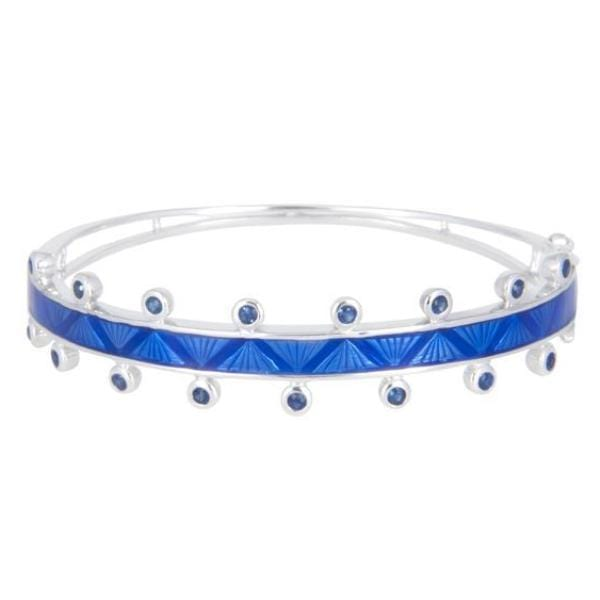 Sapphire and Blue Enamel White Gold Bracelet