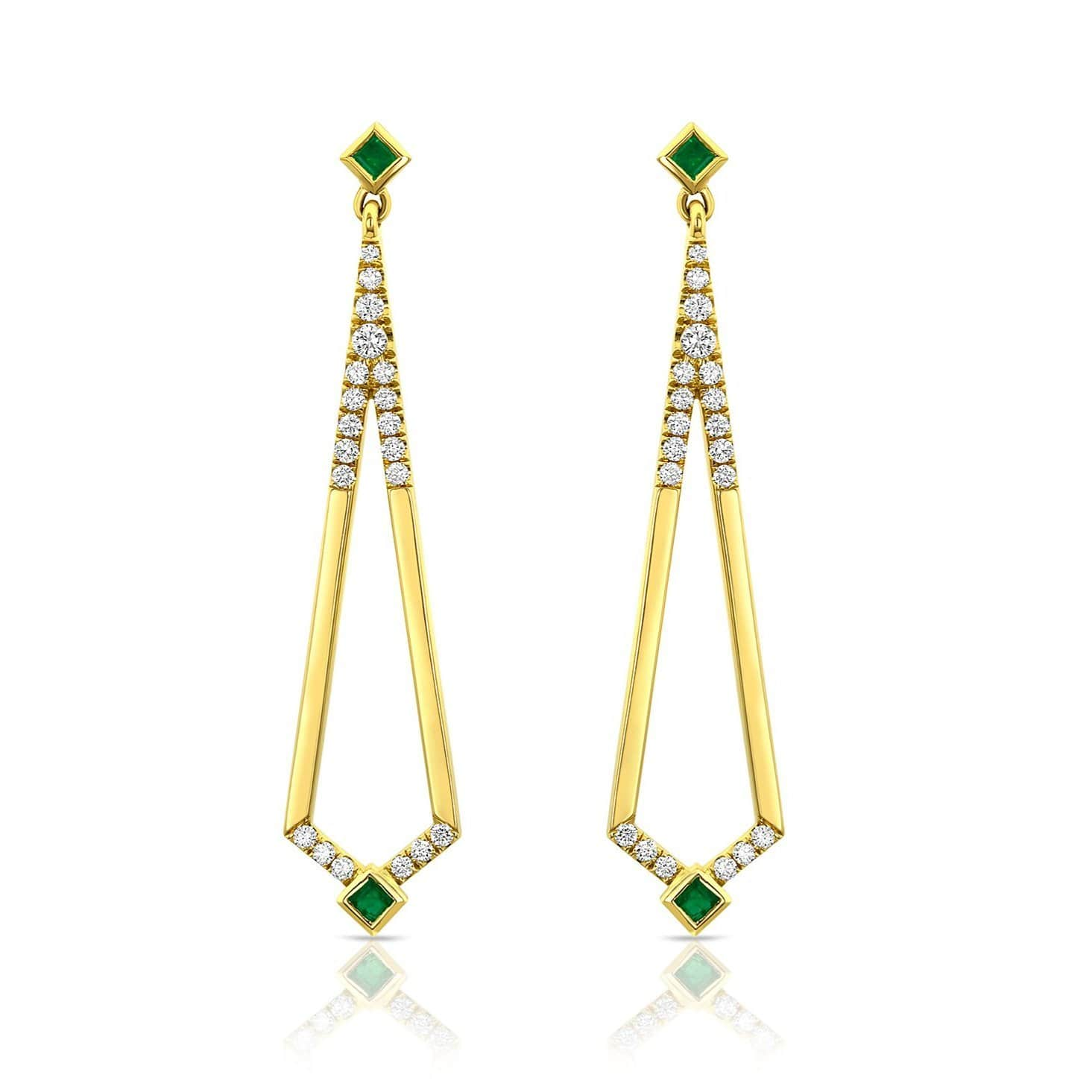 Emerald Diamond Yellow Gold Deco Style Drop Earrings