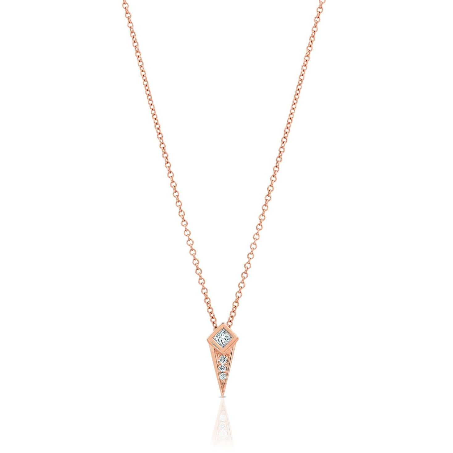 Princess Cut Diamond Rose Gold Spike Pendant